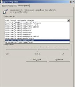 List of voices from Windows Speech Properties screen