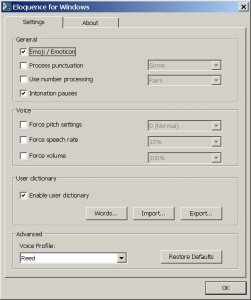 Settings for Eloquence for Windows screen